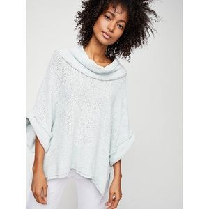 We the Free Blue So Comfy Poncho Tee Free People